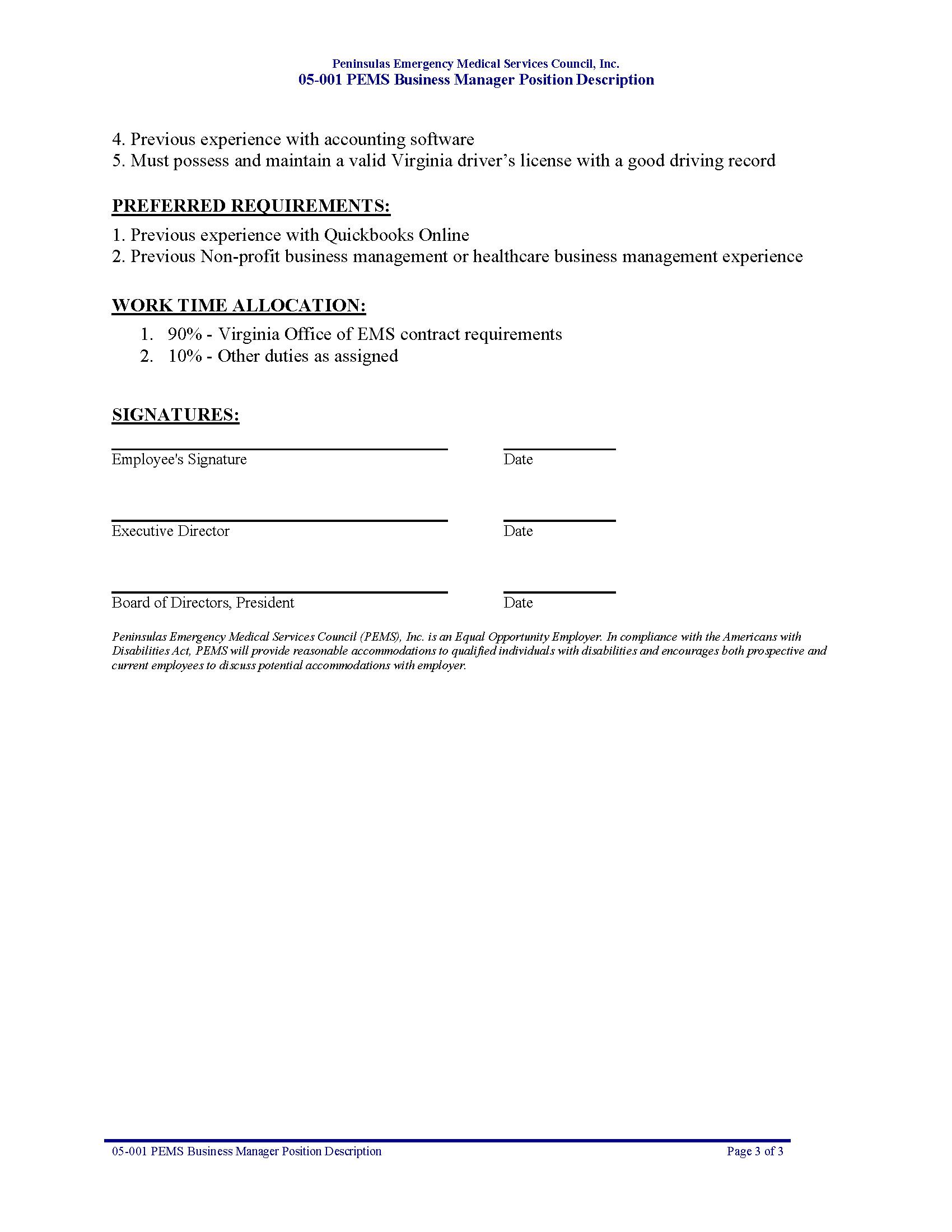 05-001 PEMS Business Manager Position Description - Peninsulas EMS