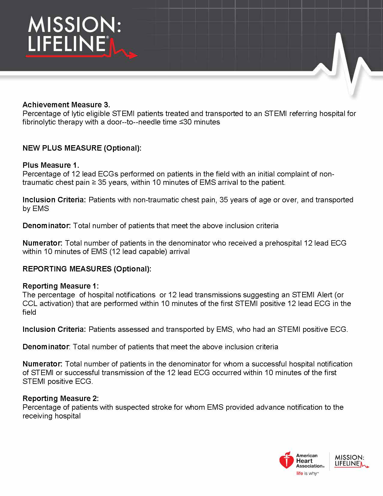 2017 Mission Lifeline EMS Recognition Guidelines Page 2