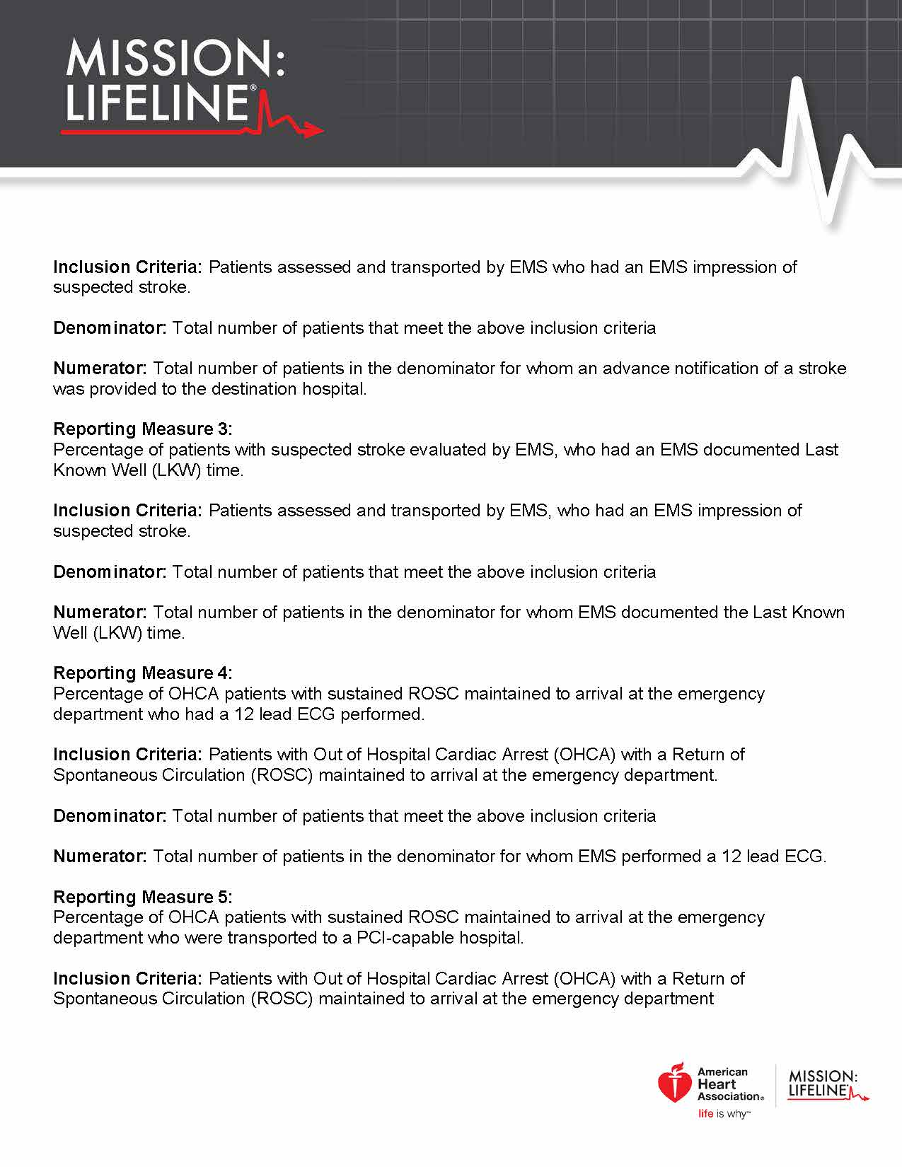 2017 Mission Lifeline EMS Recognition Guidelines Page 3