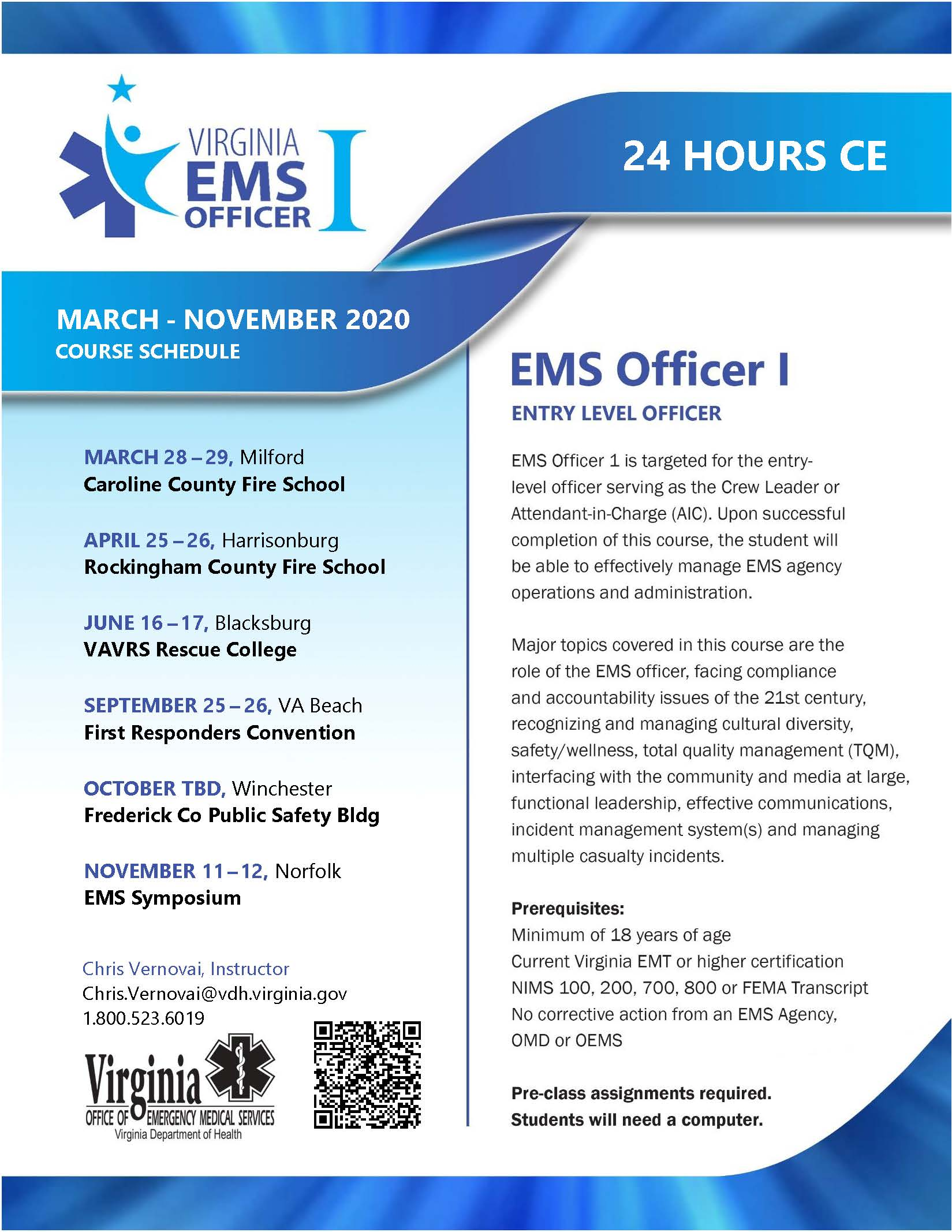 EMS Officer 1 Course Schedule Flyer 20201