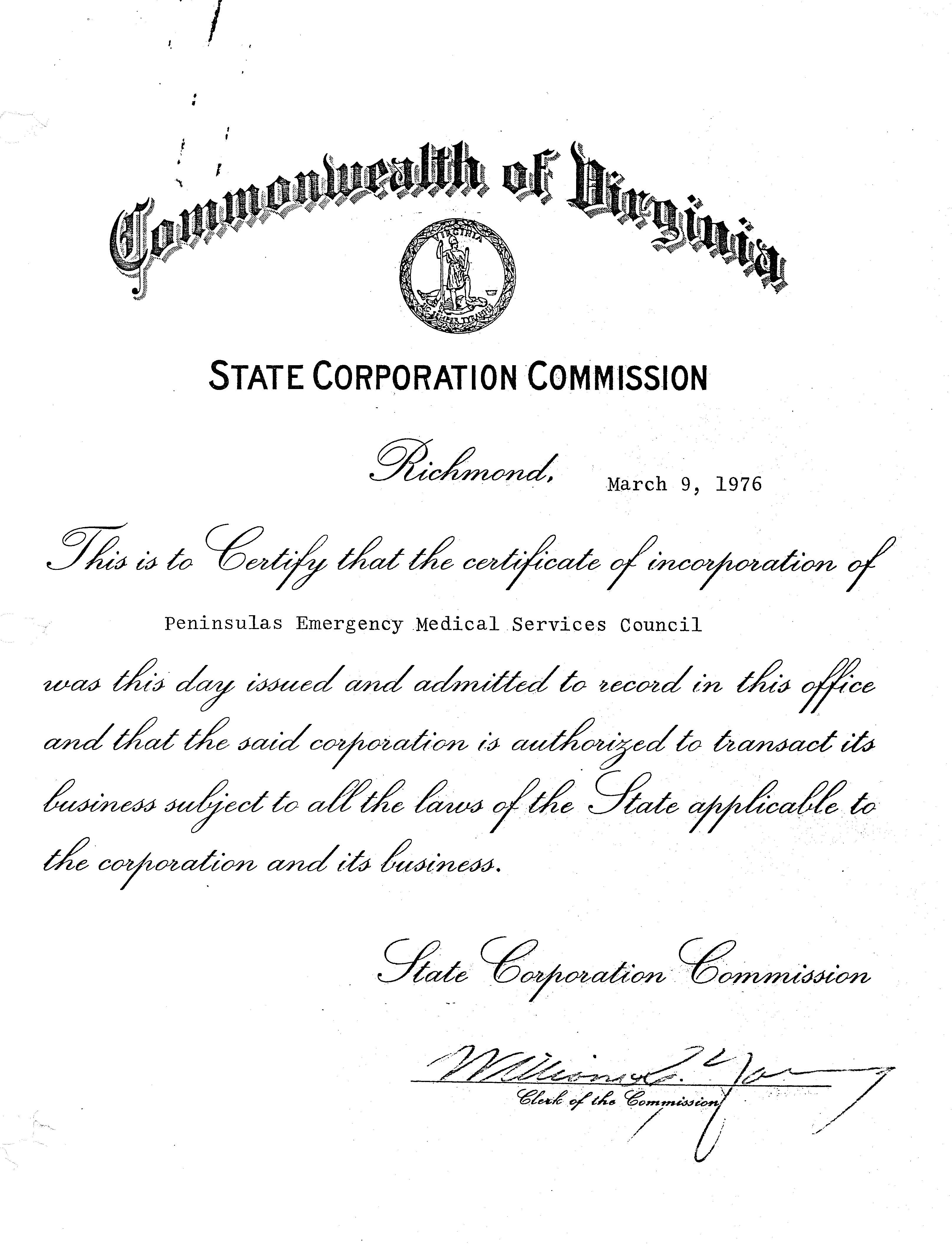 PEMS Articles of Incorporation Page 1