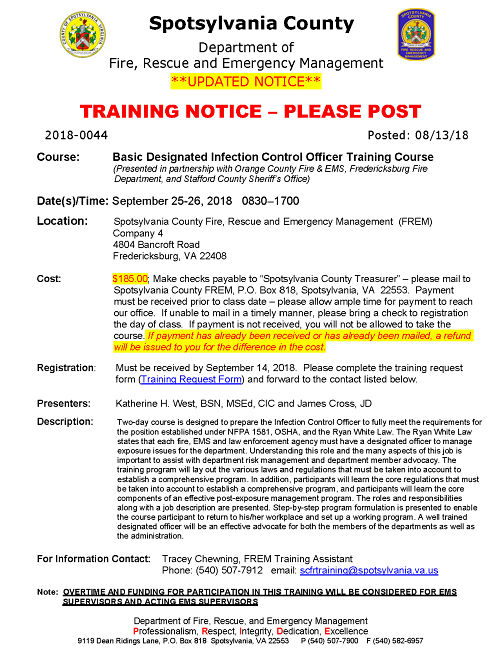 Spotsylvania County Designated Officer Courses Page 1 opt