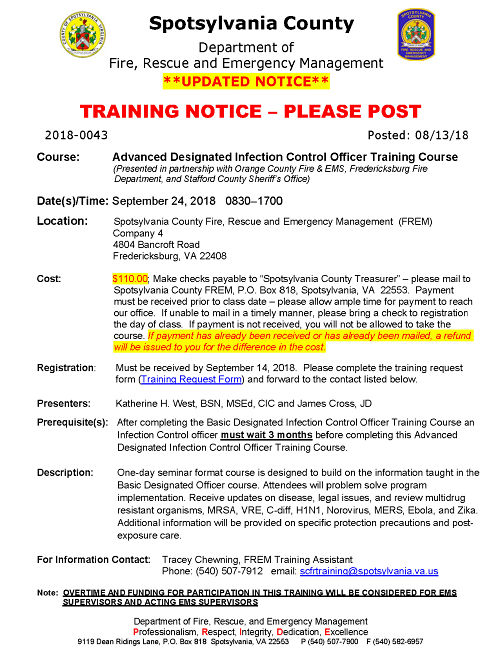 Spotsylvania County Designated Officer Courses Page 2 opt
