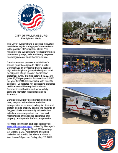 Summer 2019 Firefighter Medic Job Announcement opt