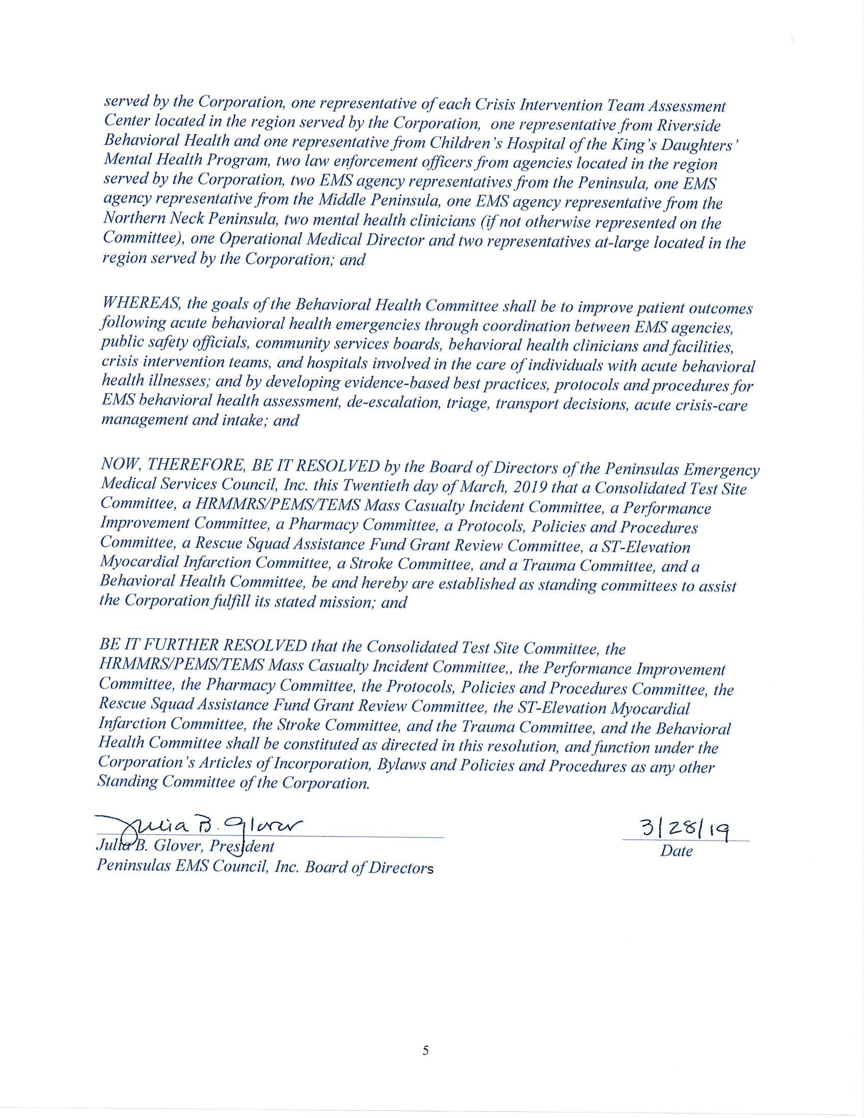 PEMS BOD Resolution to Establish Standing Committees 3 20 2019 Page 5
